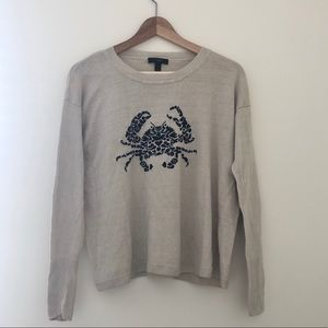 J. Crew Linen Embroidered Crab Sweater
